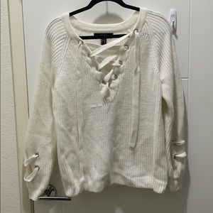 Cream Knit Lace Up V Neck Sweater